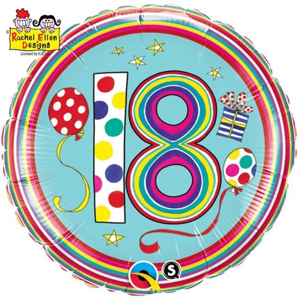 Qualatex 18 Inch Round RE Foil Balloon - 18 Polka Dots & Stripes