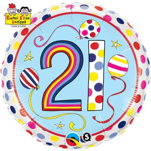 Qualatex 18 Inch Round RE Foil Balloon - 21 Polka Dots & Stripes