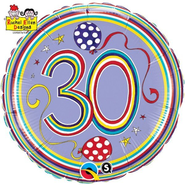 Qualatex 18 Inch Round RE Foil Balloon - 30 Polka Dots & Stripes