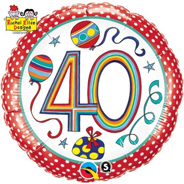 Qualatex 18 Inch Round RE Foil Balloon - 40 Polka Dots & Stripes
