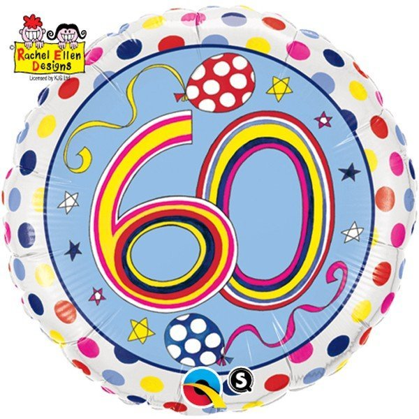 Qualatex 18 Inch Round RE Foil Balloon - 60 Polka Dots & Stripes