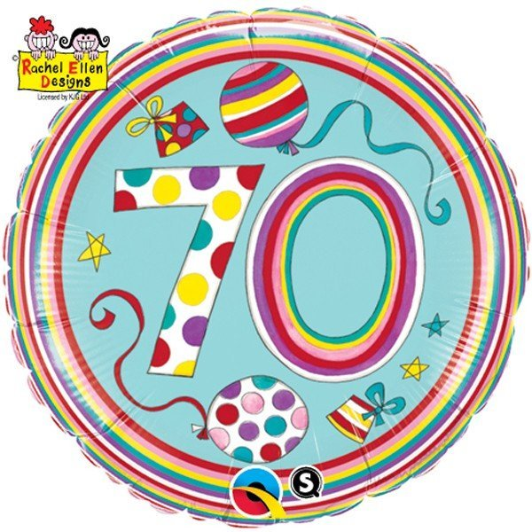 Qualatex 18 Inch Round RE Foil Balloon - 70 Polka Dots & Stripes