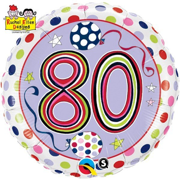 Qualatex 18 Inch Round RE Foil Balloon - 80 Polka Dots & Stripes