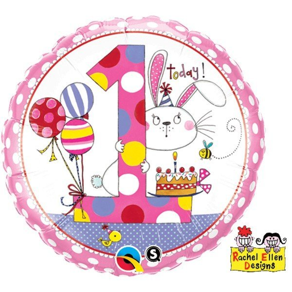 Qualatex 18 Inch Round RE Foil Balloon - Age 1 Bunny Polka Dots