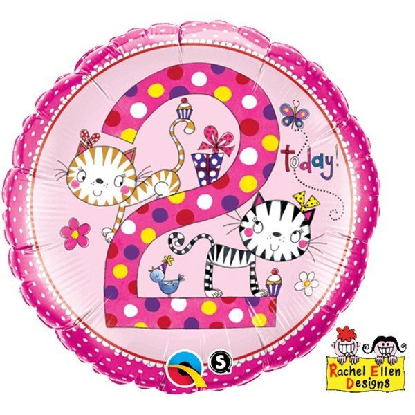 Qualatex 18 Inch Round RE Foil Balloon - Age 2 Kittens Polka Dots