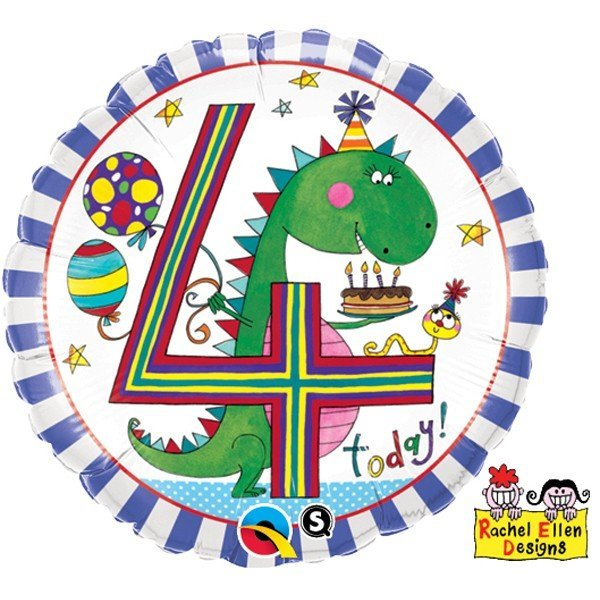 Qualatex 18 Inch Round RE Foil Balloon - Age 4 Dinosaur Stripes