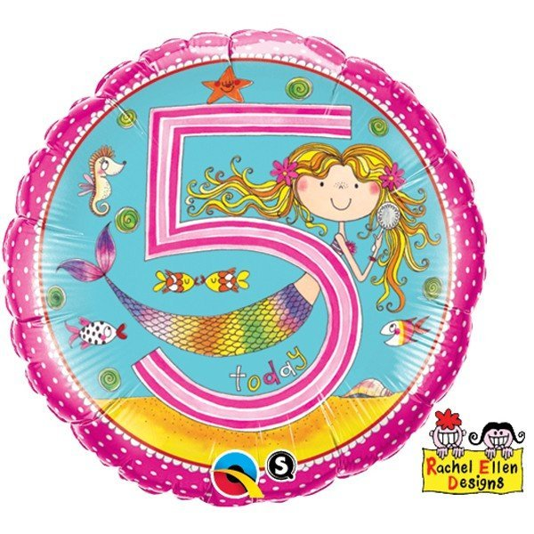 Qualatex 18 Inch Round RE Foil Balloon - Age 5 Mermaid Polka Dots