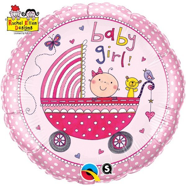 Qualatex 18 Inch Round RE Foil Balloon - Baby Girl Stroller