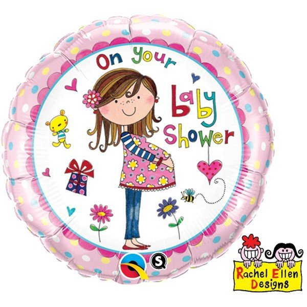 Qualatex 18 Inch Round RE Foil Balloon - On Your Baby Shower
