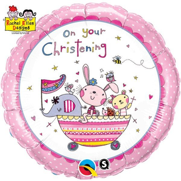 Qualatex 18 Inch Round RE Foil Balloon - On Your Christening Pink