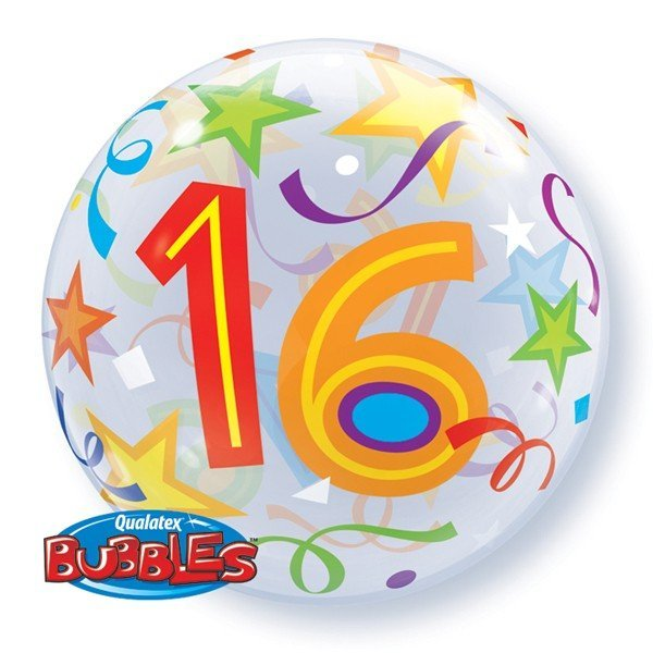 Qualatex 22 Inch Single Bubble Balloon - 16 Brilliant Stars