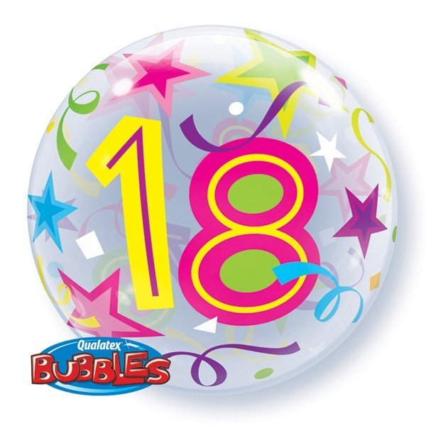 Qualatex 22 Inch Single Bubble Balloon - 18 Brilliant Stars