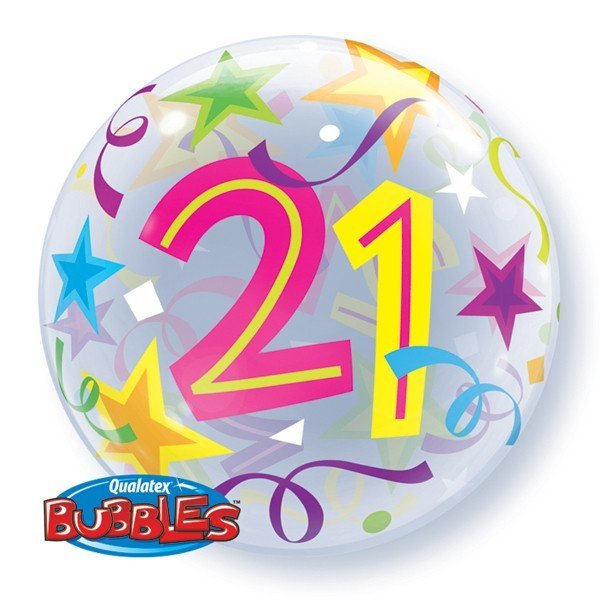 Qualatex 22 Inch Single Bubble Balloon - 21 Brilliant Stars
