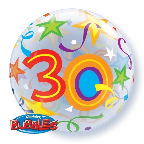 Qualatex 22 Inch Single Bubble Balloon - 30 Brilliant Stars