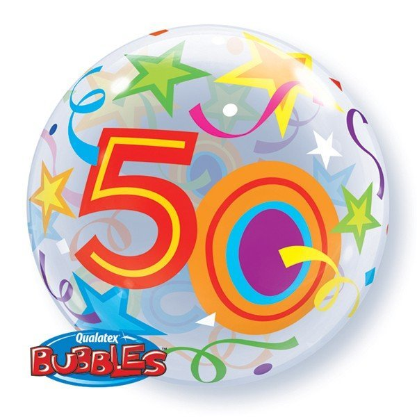 Qualatex 22 Inch Single Bubble Balloon - 50 Brilliant Stars