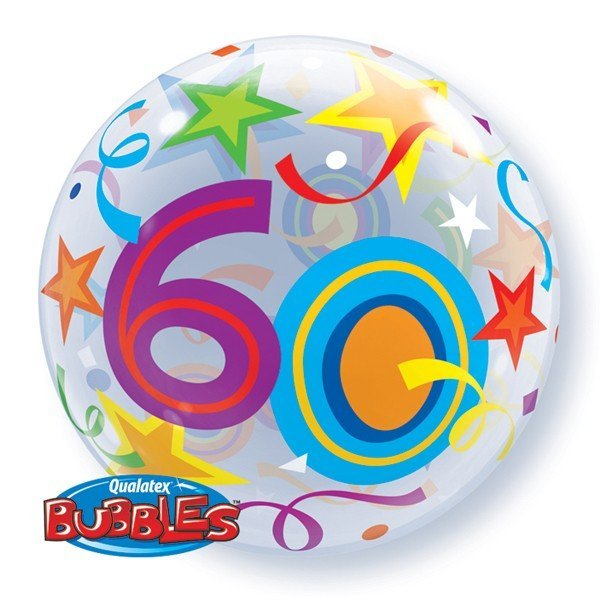 Qualatex 22 Inch Single Bubble Balloon - 60 Brilliant Stars