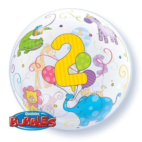 Qualatex 22 Inch Single Bubble Balloon - Age 2 Jungle Animals
