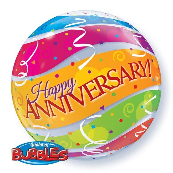 Qualatex 22 Inch Single Bubble Balloon - Anniversary Colourful Bands