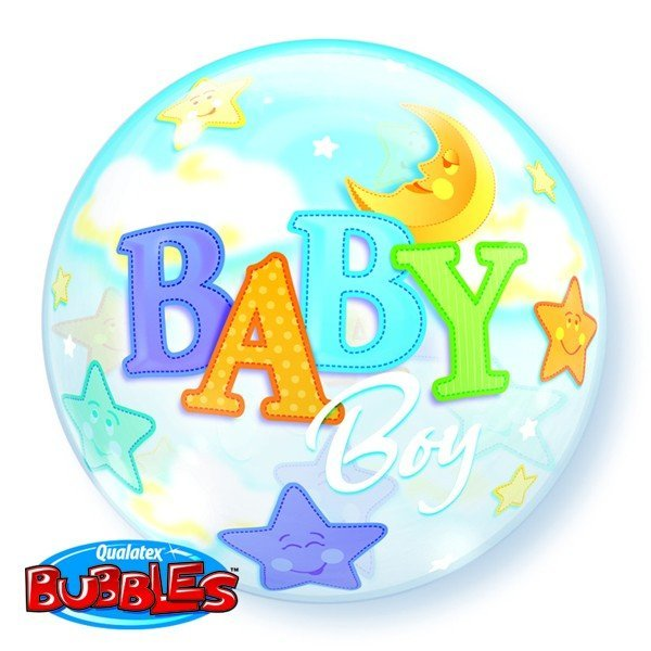 Qualatex 22 Inch Single Bubble Balloon - Baby Boy Moon & Stars