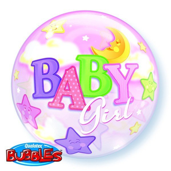Qualatex 22 Inch Single Bubble Balloon - Baby Girl Moon & Stars