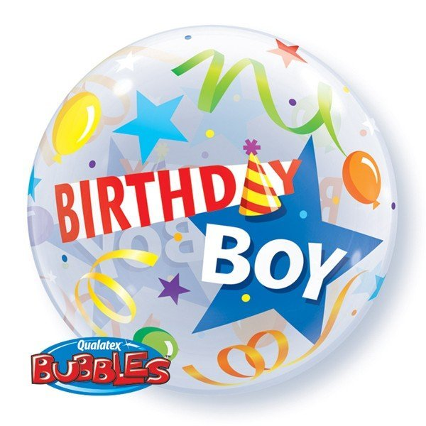 Qualatex 22 Inch Single Bubble Balloon - Birthday Boy Party Hat
