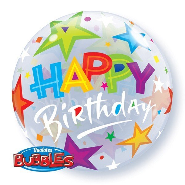 Qualatex 22 Inch Single Bubble Balloon - Birthday Brilliant Stars