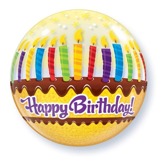 Qualatex 22 Inch Single Bubble Balloon - Birthday Candles & Frosting