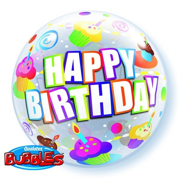 Qualatex 22 Inch Single Bubble Balloon - Birthday Colourful Cupcakes