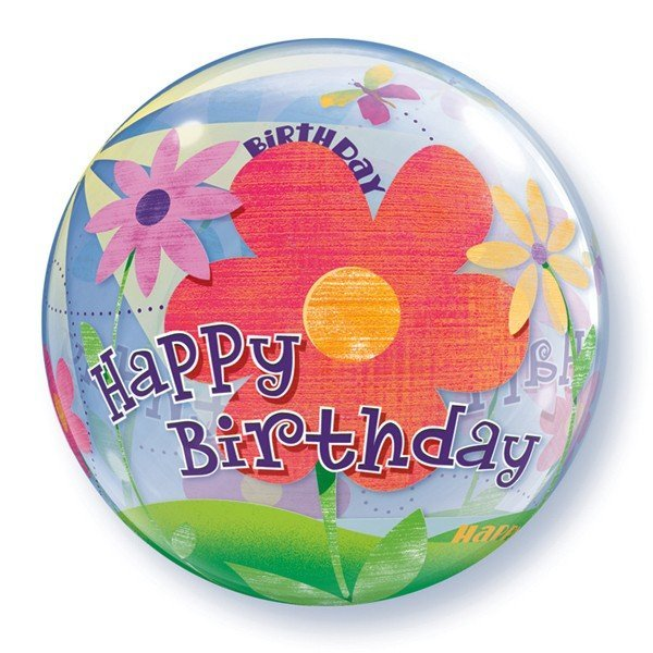 Qualatex 22 Inch Single Bubble Balloon - Birthday Funky Flowers