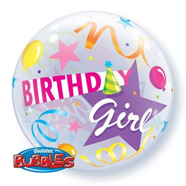 Qualatex 22 Inch Single Bubble Balloon - Birthday Girl Party Hat
