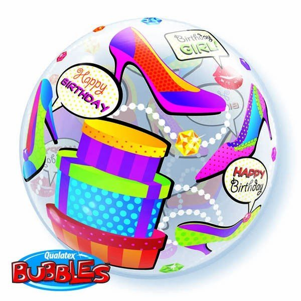 Qualatex 22 Inch Single Bubble Balloon - Birthday Girl Shopping Spree