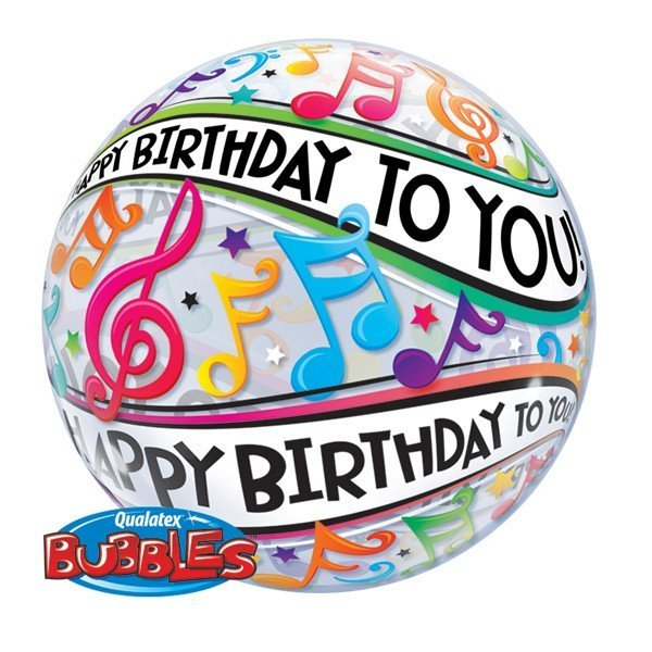 Qualatex 22 Inch Single Bubble Balloon - Birthday Music Notes
