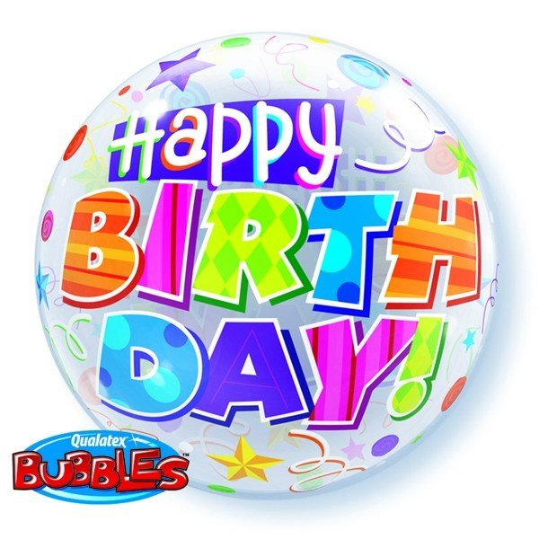 Qualatex 22 Inch Single Bubble Balloon - Birthday Party Patterns