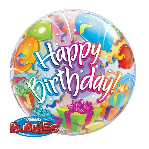 Qualatex 22 Inch Single Bubble Balloon - Birthday Surprise