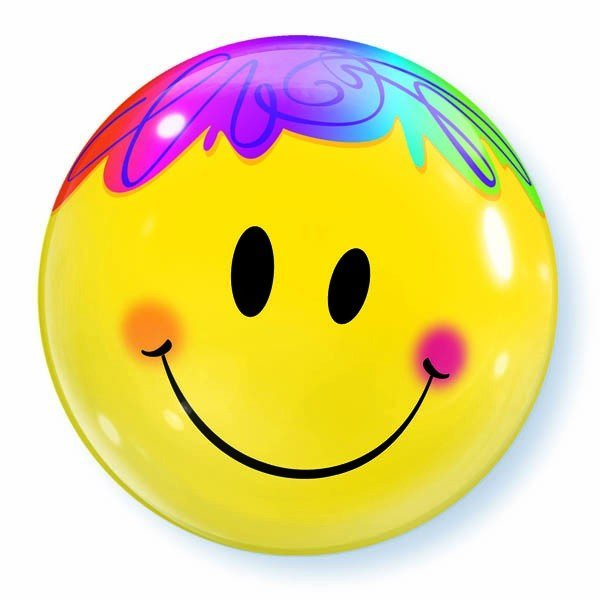 Qualatex 22 Inch Single Bubble Balloon - Bright Smile Faces