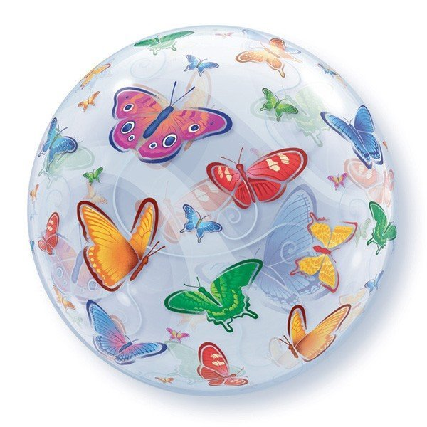 Qualatex 22 Inch Single Bubble Balloon - Butterflies