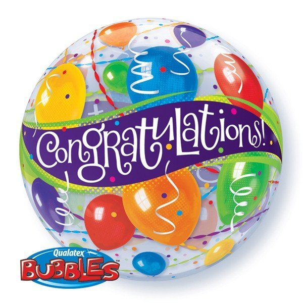 Qualatex 22 Inch Single Bubble Balloon - Congratulations