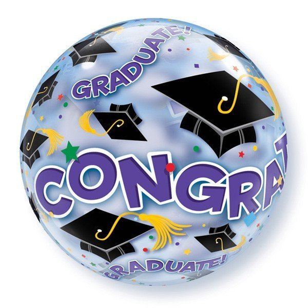 Qualatex 22 Inch Single Bubble Balloon - Congratulations Graduate