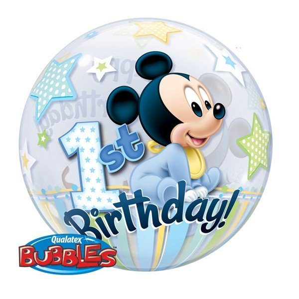 Qualatex 22 Inch Single Bubble Balloon - Mickey Mouse 1st Birthday