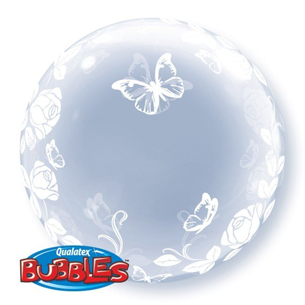 Qualatex 24 Inch Deco Bubble Balloon - Elegant Roses & Butterflies