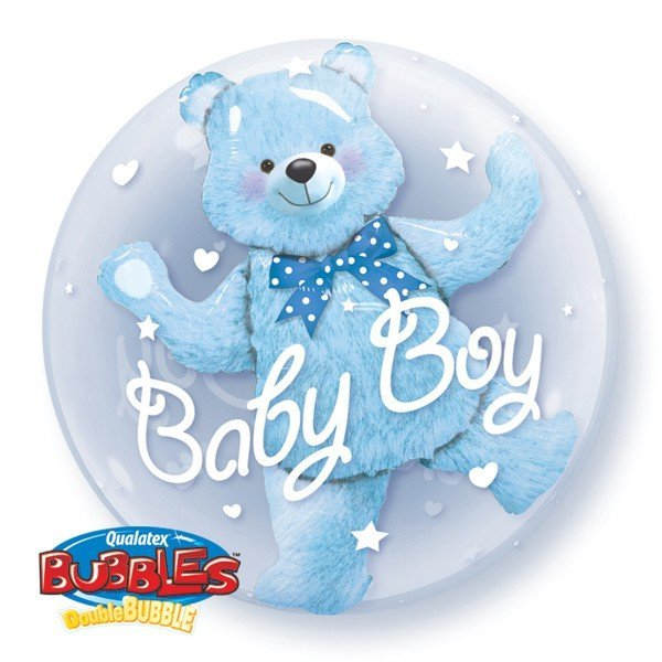 Qualatex 24 Inch Double Bubble Balloon - Baby Blue Bear