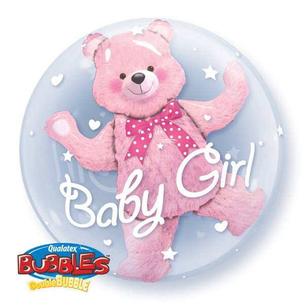 Qualatex 24 Inch Double Bubble Balloon - Baby Pink Bear