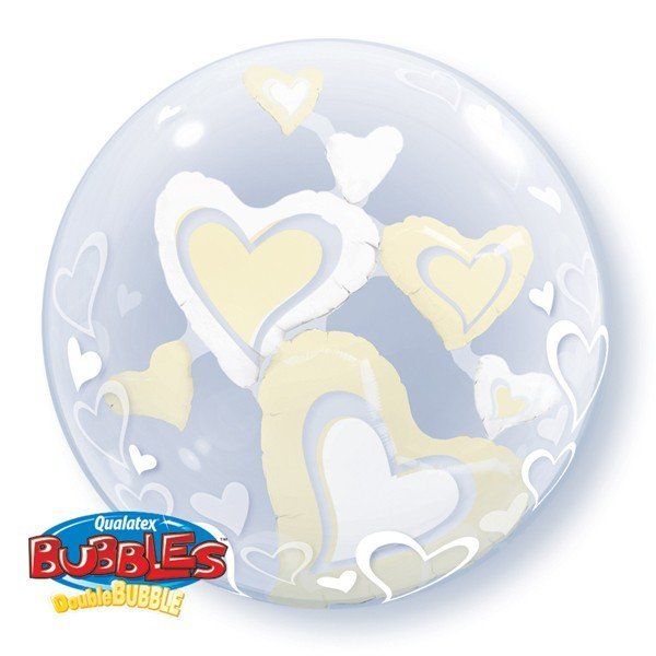 Qualatex 24 Inch Double Bubble Balloon - Floating Hearts