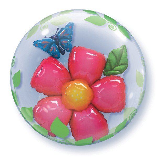 Qualatex 24 Inch Double Bubble Balloon - Leaves Flower