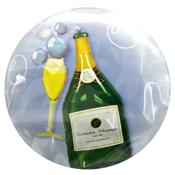 Qualatex 24 Inch Double Bubble Balloon - Wine Bottle & Glass