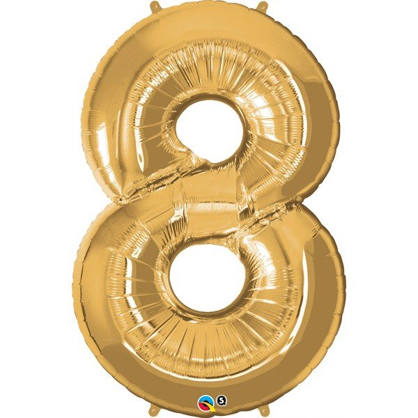 Qualatex 34 Inch Number Balloon - Eight Metallic Gold