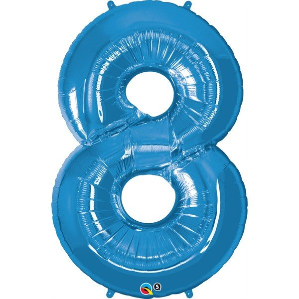 Qualatex 34 Inch Number Balloon - Eight Sapphire Blue