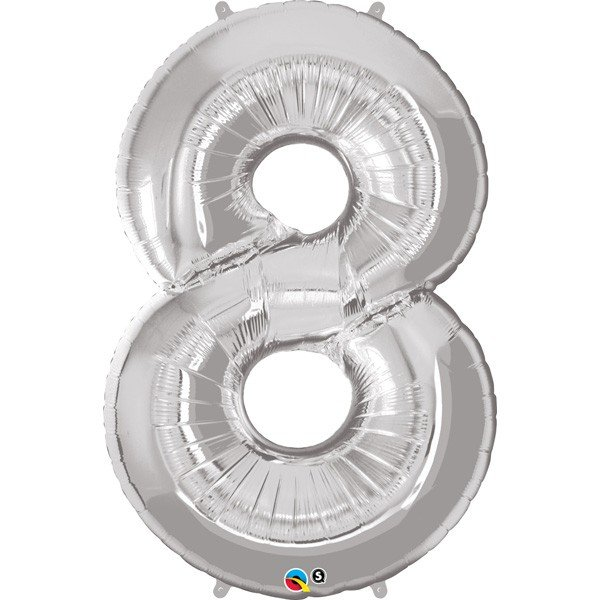 Qualatex 34 Inch Number Balloon - Eight Silver