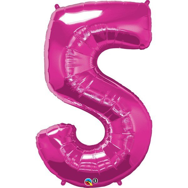Qualatex 34 Inch Number Balloon - Five Magenta