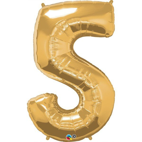 Qualatex 34 Inch Number Balloon - Five Metallic Gold